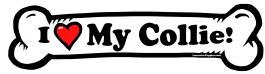 I love my Collie Dog Bone Sticker Free Shipping