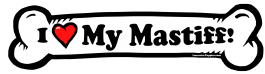 I love my Mastiff Dog Bone Sticker Free Shipping