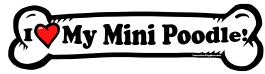 I love my Mini Poodle Dog Bone Sticker Free Shipping